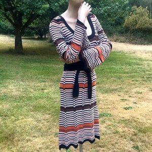 70's 80's Style Retro Vintage Vibe Knit Dress Med